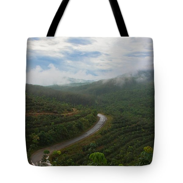 Tote Bag featuring the photograph Kerala Tea Plantation by Sonny Marcyan