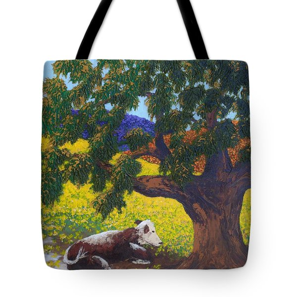 Tote Bag featuring the painting Kern County Cow by Katherine Young-Beck