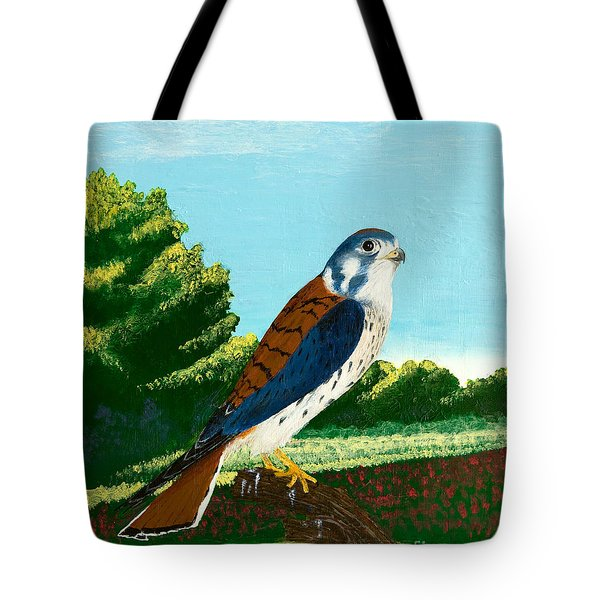 Kestrel And Flowers Tote Bag