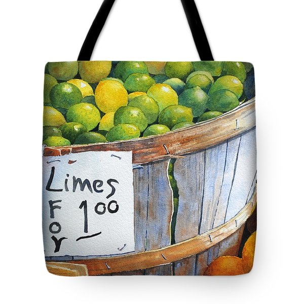 Key Limes Ten For A Dollar Tote Bag by Roger Rockefeller