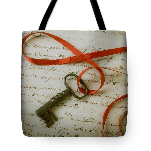Key On Red Ribbon Tote Bag