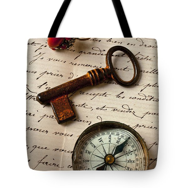 Key Ring And Compass Tote Bag by Garry Gay