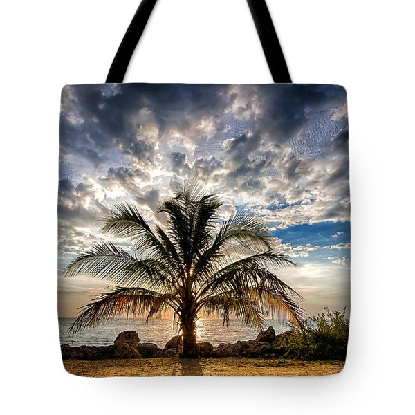 Key West Florida Lone Palm Tree  Tote Bag