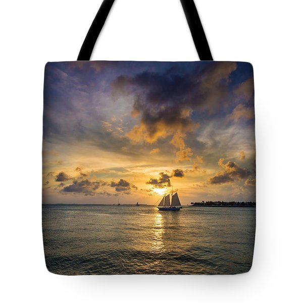 Key West Florida Sunset Mallory Square Tote Bag