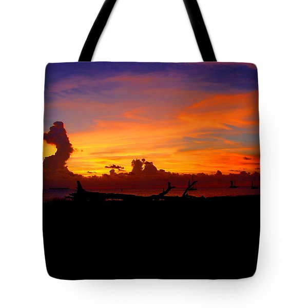 Key West Sun Set Tote Bag by Iconic Images Art Gallery David Pucciarelli
