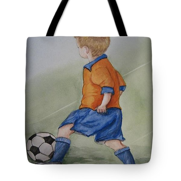 Kick N It ....boy And Soccer Tote Bag by Kelly Mills