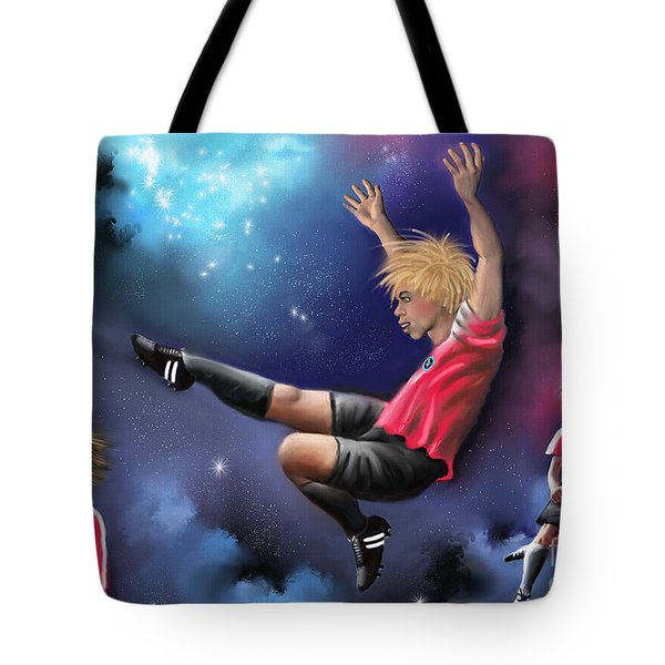 Tote Bag featuring the painting Kick Off by S G