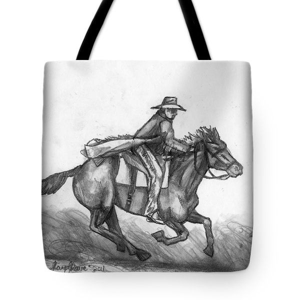 Tote Bag featuring the drawing Kickin Up Dust by Shana Rowe Jackson