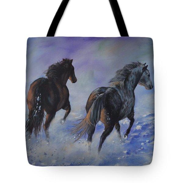 Kicking Up Snow Tote Bag