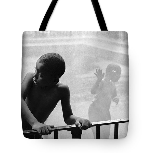 Kid In Sprinkler Tote Bag