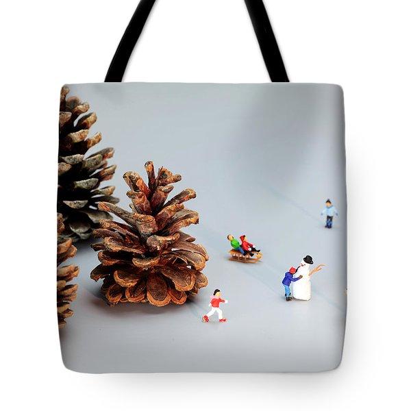 Kids Merry Christmas By Pinecones Tote Bag by Paul Ge