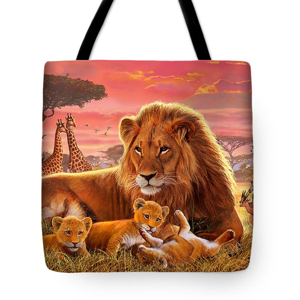 Kilimanjaro Male Lion With Cubs Tote Bag