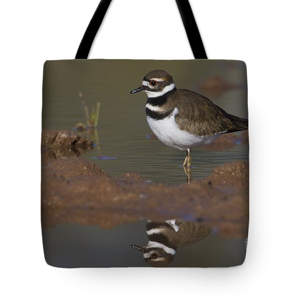 Tote Bag featuring the photograph Killdeer Reflection by Bryan Keil