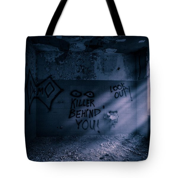 Tote Bag featuring the photograph Killer Behind You - Abandoned Hospital Asylum by Gary Heller