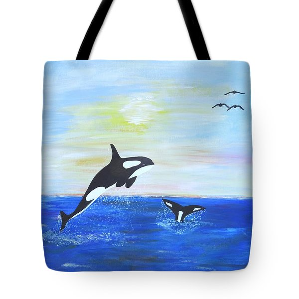 Killer Whales Leaping Tote Bag