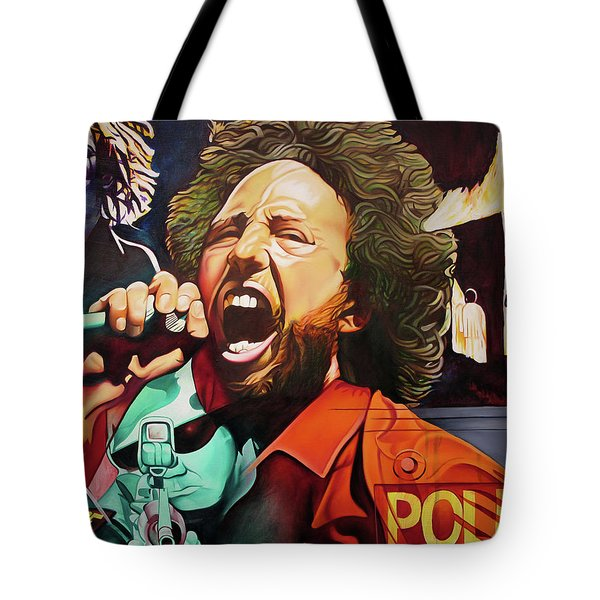 Tote Bag featuring the painting Killing In The Name by Joshua Morton