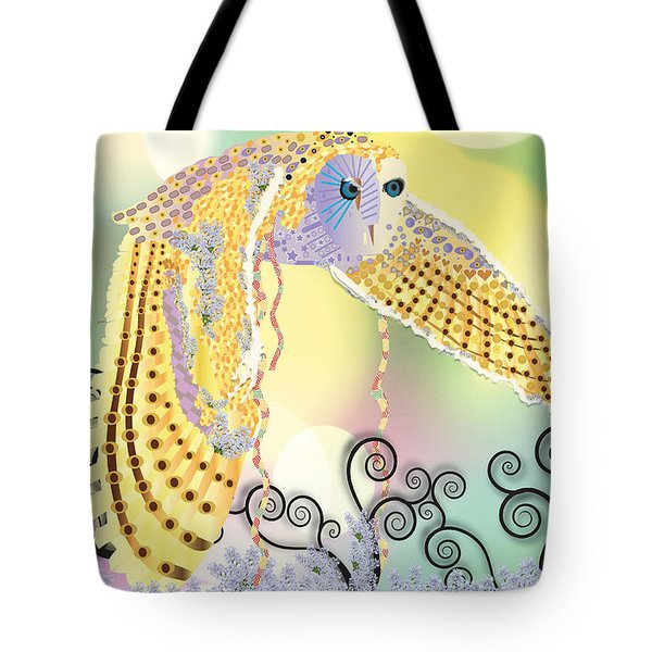 Tote Bag featuring the digital art Kindred Light Owl by Kim Prowse