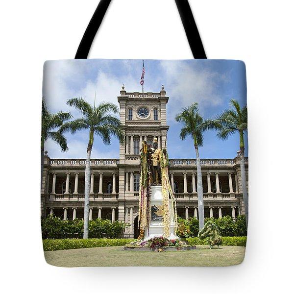 King Kamehameha In Leis Tote Bag by Brandon Tabiolo