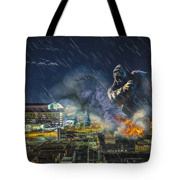 Tote Bag featuring the photograph King Kong By Ford Field by Nicholas  Grunas