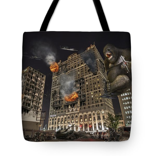 Tote Bag featuring the photograph King Kong In Detroit Westin Hotel by Nicholas  Grunas