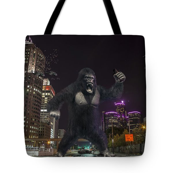 Tote Bag featuring the photograph King Kong On Jefferson St In Detroit by Nicholas  Grunas