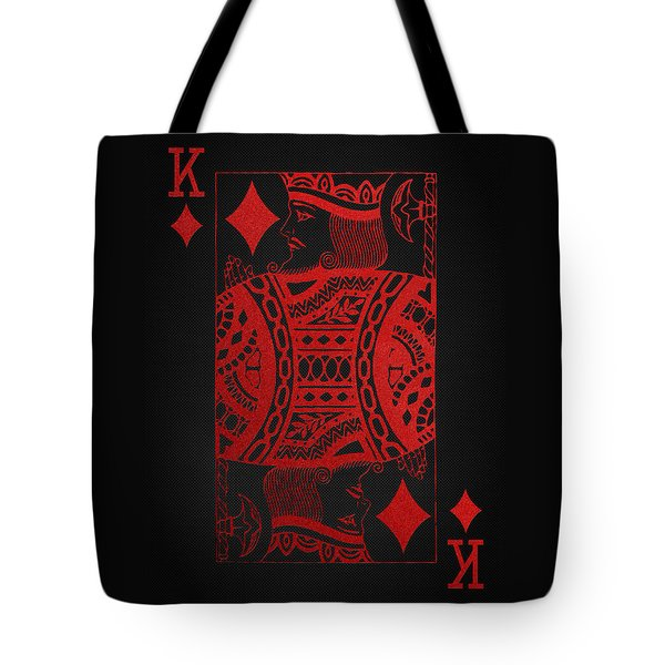 King Of Diamonds In Red On Black Canvas   Tote Bag