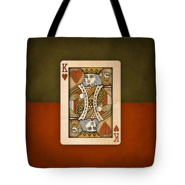King Of Hearts In Wood Tote Bag