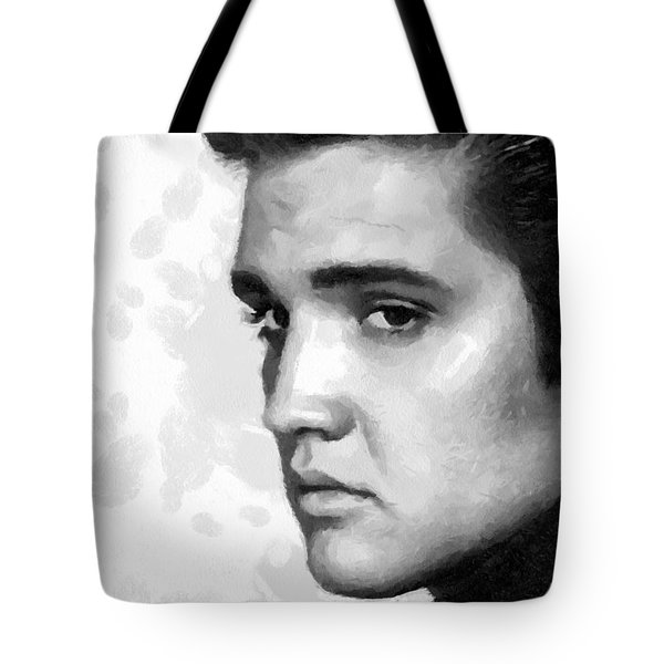 King Of Rock Elvis Presley Black And White Tote Bag by Georgi Dimitrov