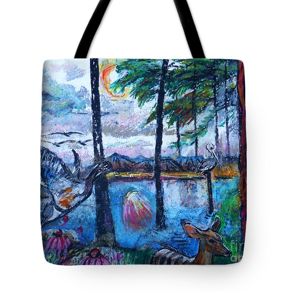 Kingfisher And Deer In Landscape Tote Bag