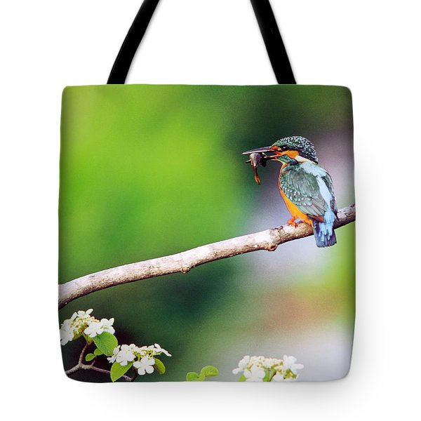 Kingfisher Holding Fish In Beak Perched Tote Bag