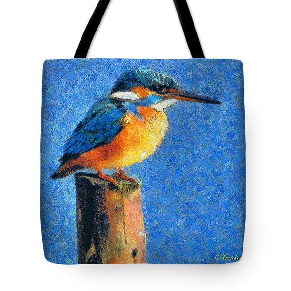 Kingfisher The King Tote Bag by George Rossidis