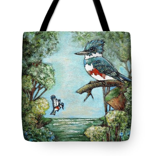 Tote Bag featuring the painting Kingfishers Cove by VLee Watson