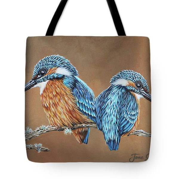 Tote Bag featuring the painting Kingfishers by Jane Girardot