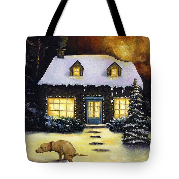 Kinkade's Worst Nightmare Tote Bag by Leah Saulnier The Painting Maniac