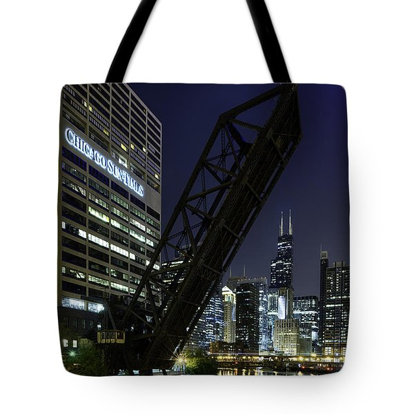 Kinzie Street Railroad Bridge At Night Tote Bag by Sebastian Musial