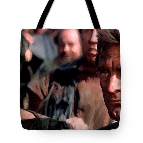 Kirk Douglas And Tony Curtis In The Film Spartacus Tote Bag