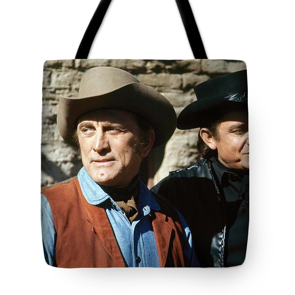 Tote Bag featuring the photograph Kirk Douglas Johnny Cash A Gunfight  Old Tucson Arizona 1971 by David Lee Guss
