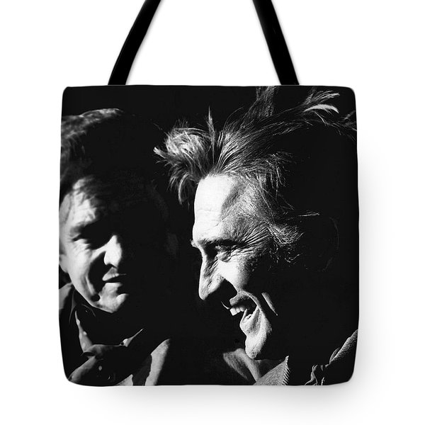 Tote Bag featuring the photograph Kirk Douglas Laughing Johnny Cash Old Tucson Arizona 1971 by David Lee Guss