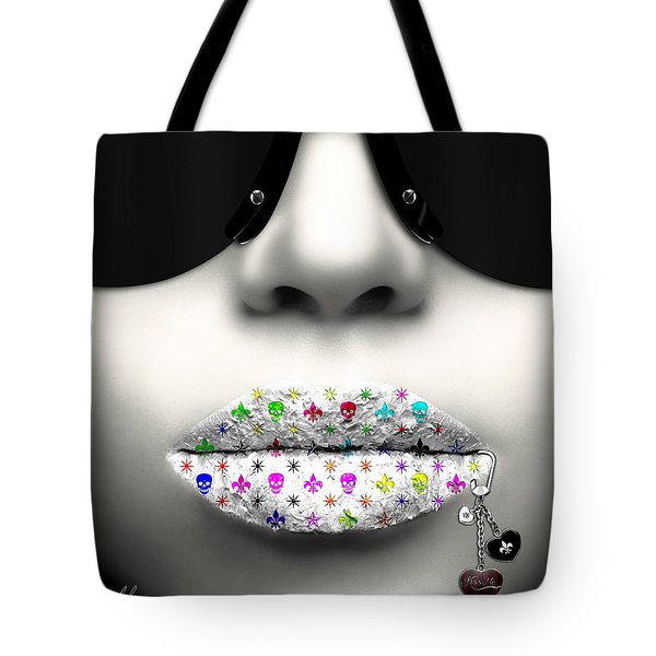 Kiss Me Silver Tote Bag