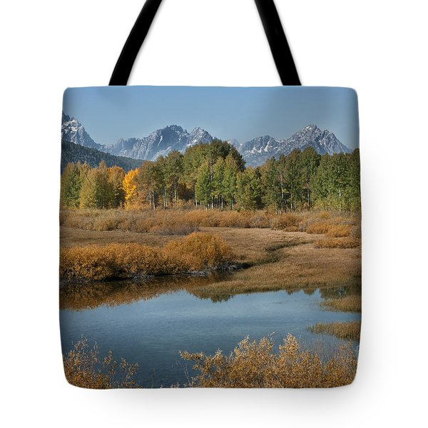 Kiss Of Fall In The Grand Tetons Tote Bag by Sandra Bronstein