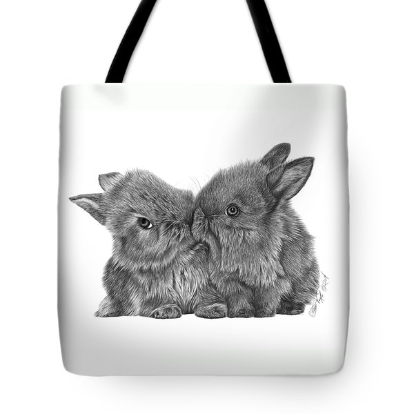 Tote Bag featuring the drawing Kissing Bunnies - 035 by Abbey Noelle