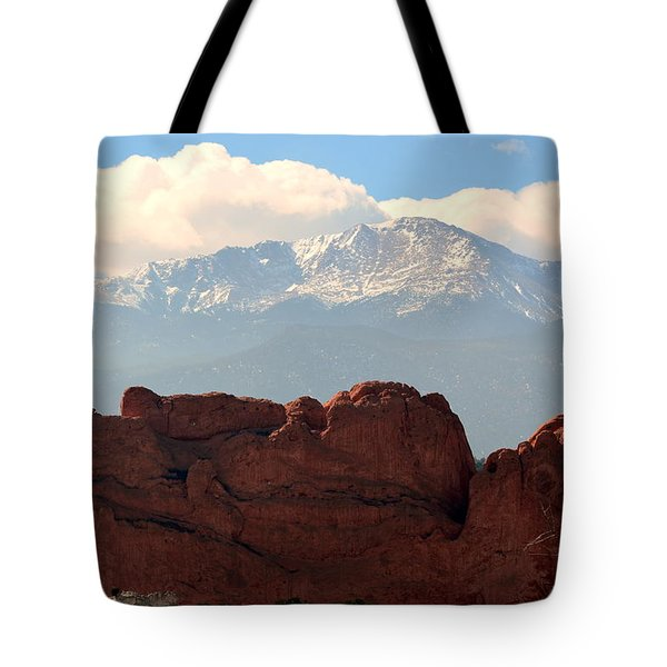 Kissing Camels Against Pikes Peak Tote Bag by Clarice  Lakota