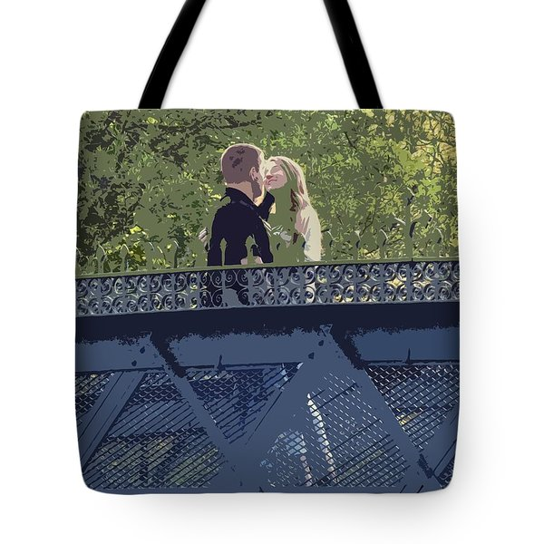 Kissing On A Bridge Tote Bag