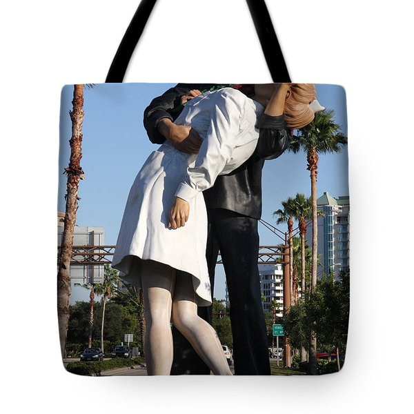 Tote Bag featuring the photograph Kissing Sailor - The Kiss - Sarasota by Christiane Schulze Art And Photography