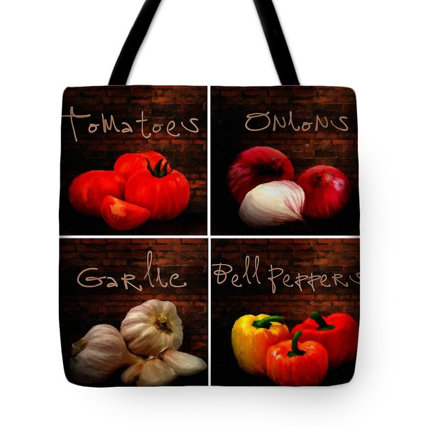 Kitchen Ingredients Collage II Tote Bag by Lourry Legarde