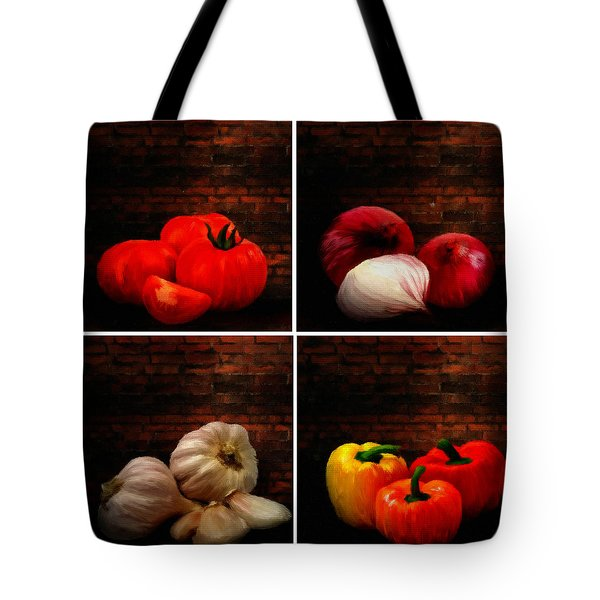 Kitchen Ingredients Collage Tote Bag by Lourry Legarde