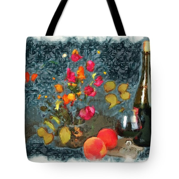 Kitchen - Peaches And Wine Painting  Tote Bag by Liane Wright