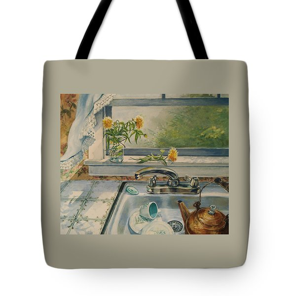 Tote Bag featuring the painting Kitchen Sink by Joy Nichols