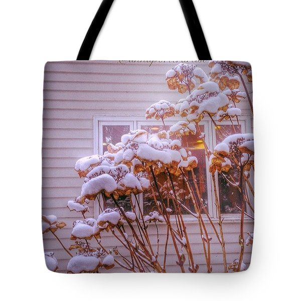Kitchen Window, Hydrangea And Snow Tote Bag
