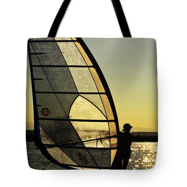 Tote Bag featuring the photograph Kiteboarder Sunset by Sonya Lang